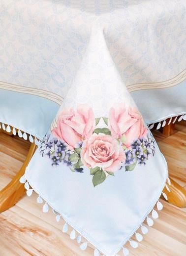 Çiçek Desenli Masa Örtüsü - 140*140 Cm - Mavi-The Mia